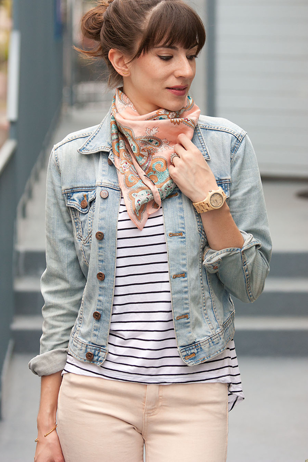 J.Crew Scarf, Denim Jacket, Striped Tee
