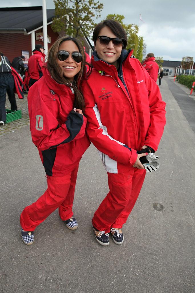 Jennifer and Sarah gearing up for sailing