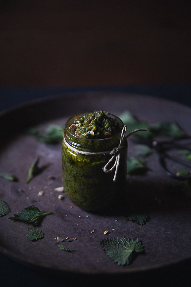 Stinging Nettle & Almond Pesto [ Cashew Kitchen