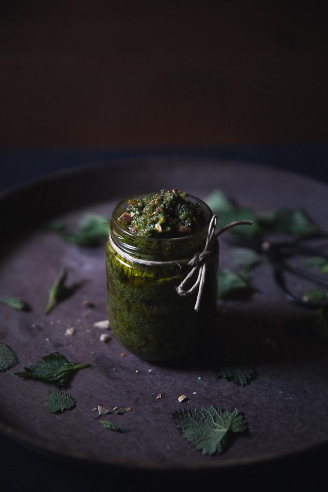 Stinging Nettle & Almond Pesto [ Cashew Kitchen