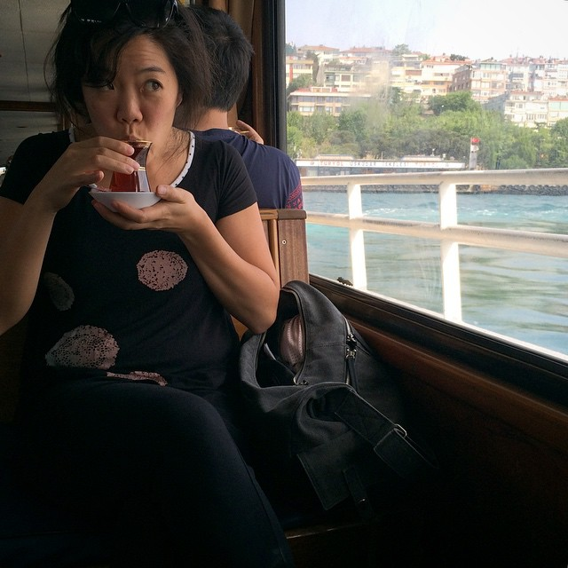 Tea time on the Bosphorus ferry
