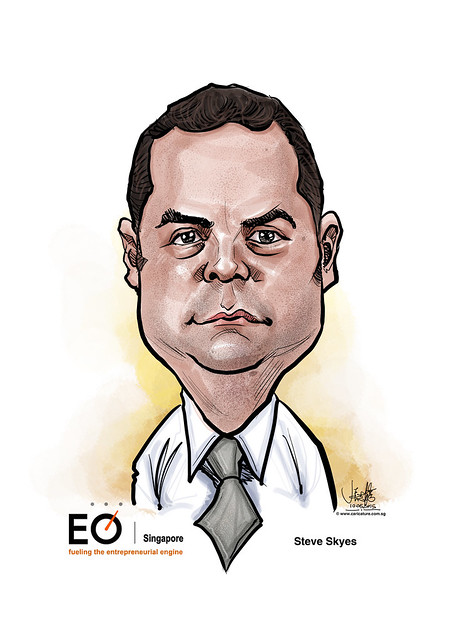 digital Steve Skyes caricature for EO Singapore