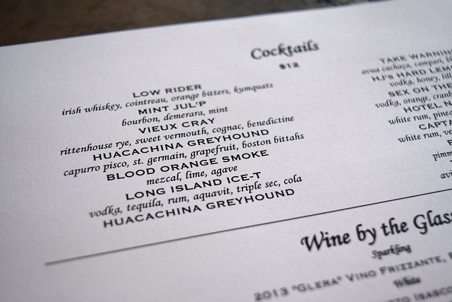 Cocktail Menu at Son of a Gun, West Hollywood