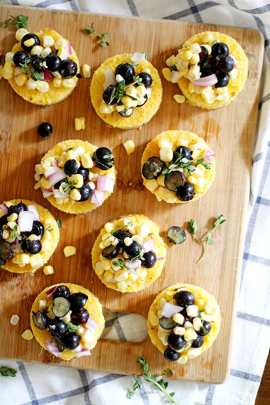 Cheesy Polenta Bites with Blueberry Corn Relish | girlversusdough.com @girlversusdough