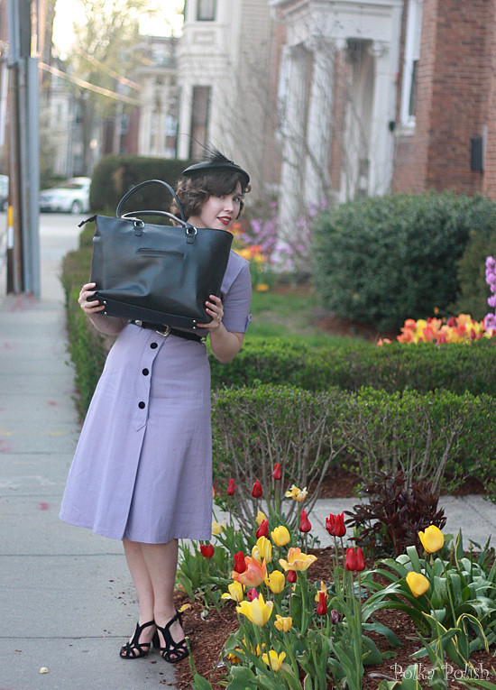 Purple vintage dress with black velvet buttons and a new purse big enough to stick a computer in