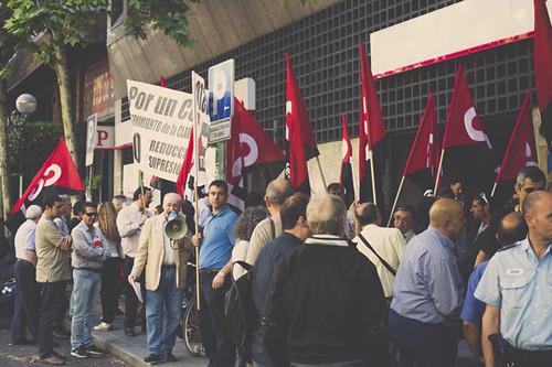 cgt ante sede Asociación empresarios de Banca por un convenio justo en Madrid
