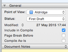 Scrivener's Inspector with labels changed to Point of View