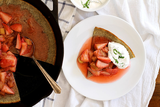 Buckwheat Dutch Baby with Strawberry Rhubarb Compote and Basil Whipped Cream | girlversusdough.com @girlversusdough