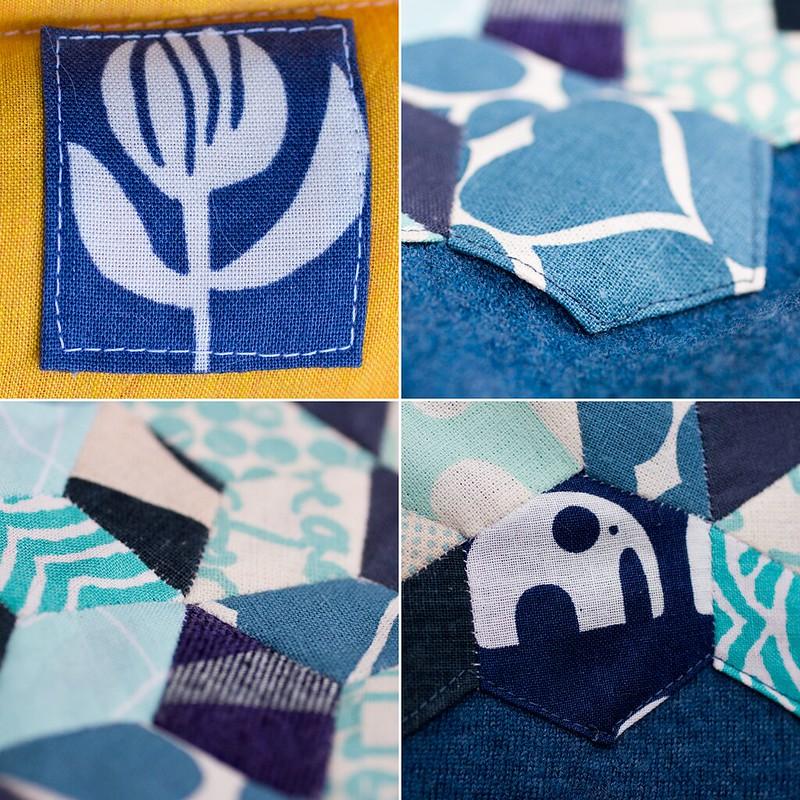 Umbrella Prints trimming challenge {English paper piecing, hearts, elephants, diamonds}