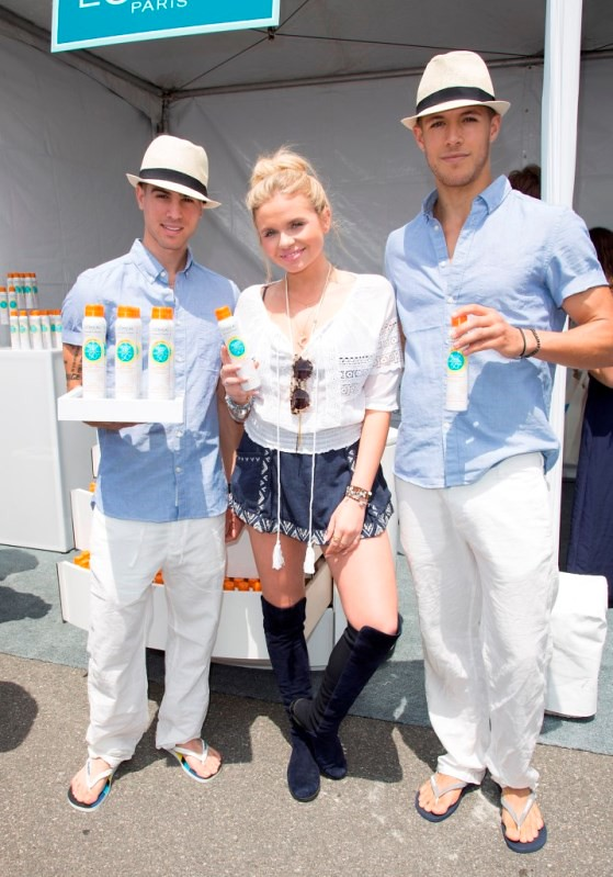 Alli Simpson gets a L'Oreal Paris sunscreen touch-up at Ovarian Cancer Research Fund's 2nd Annual Super Saturday LA