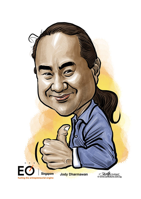 digital caricature for EO Singapore - Jody Dharmawan