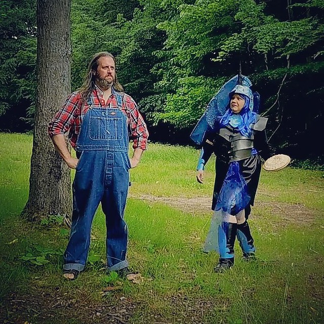 1/3 She sneaks from behind, pie in hand.... (video to come) #pieintheface #overalls #Dickies #bluedenim #plaid #cosplay #mylittlepony #nightmaremoon