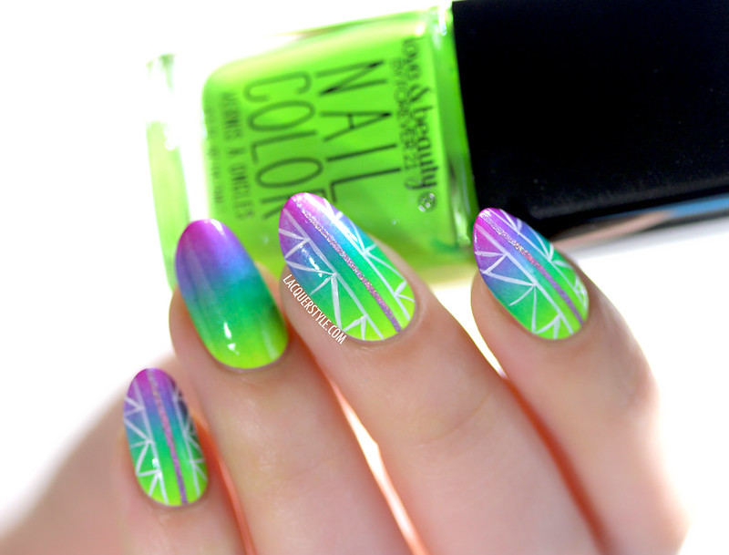 lacquerstyle kgrdnr neon hand painted nail art gradient forever 21 orly glowstick color club peace out purple nubar ombre
