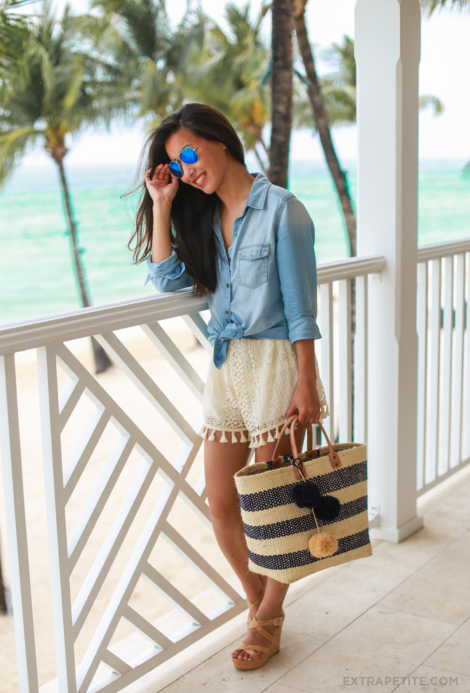 chambray shirt crochet shorts beach outfit3