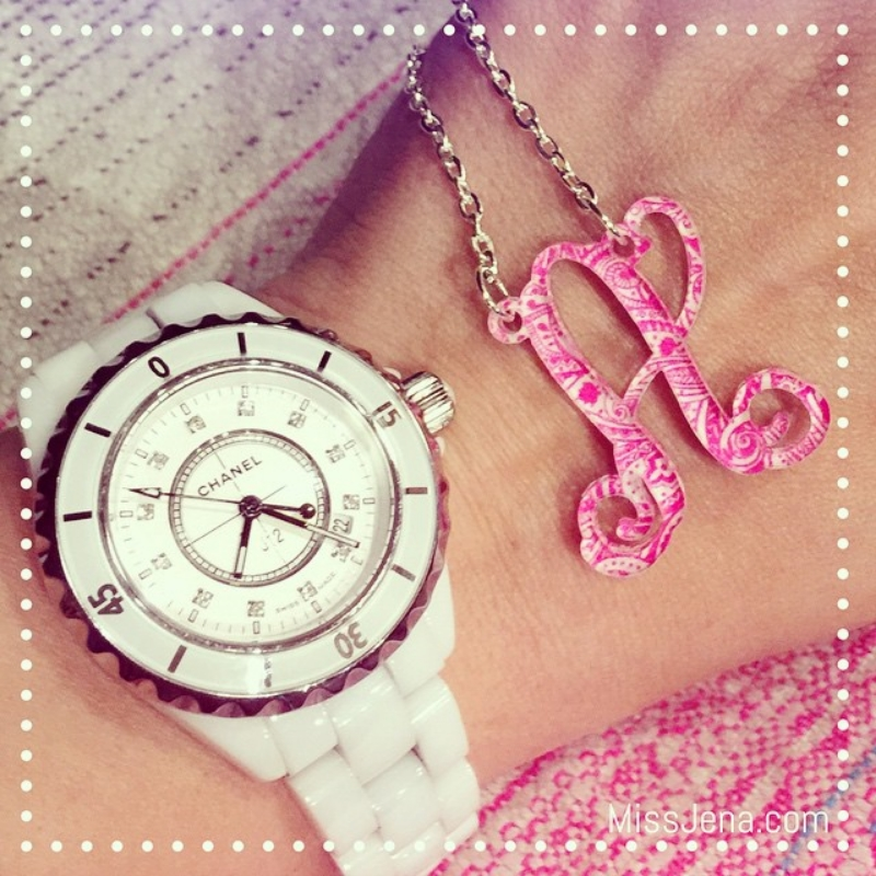 Impulse letters pink monogram a with chanel j12 watch in white