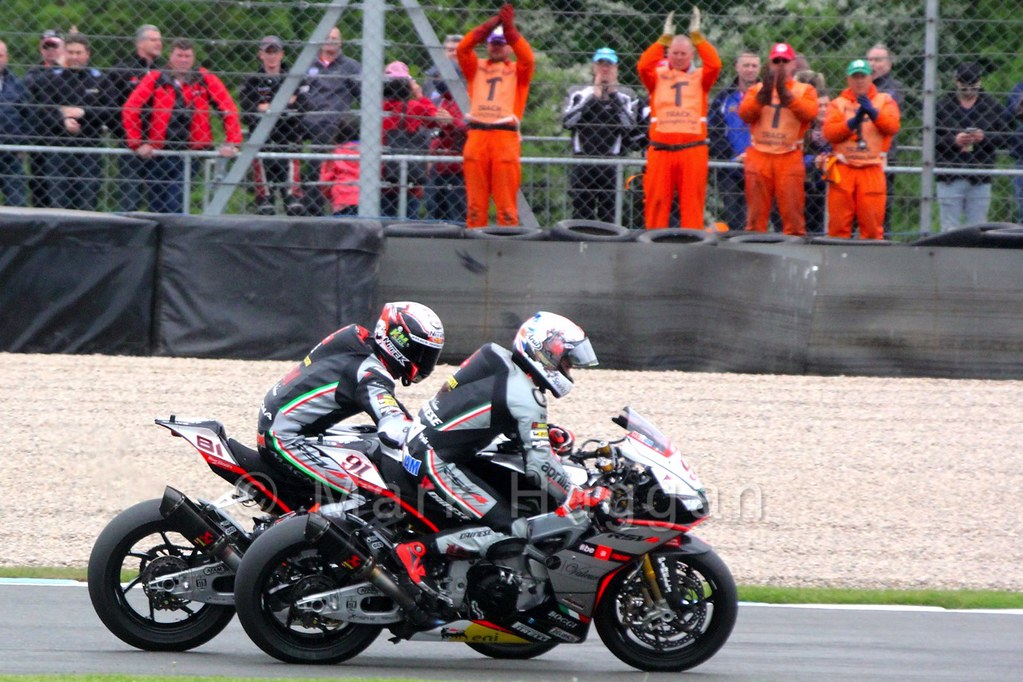 Leon Haslam and Jordi Torres after World Superbikes Race 1 at Donington, May 2015