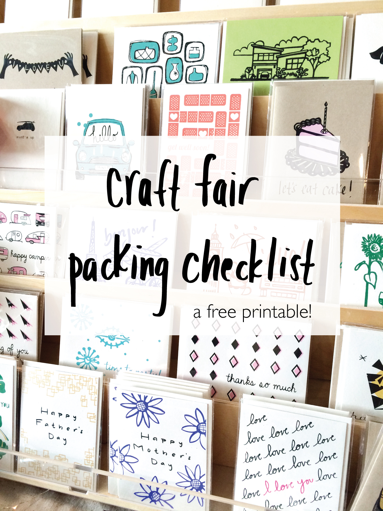 Craft Fair Packing Checklist - a free printable!