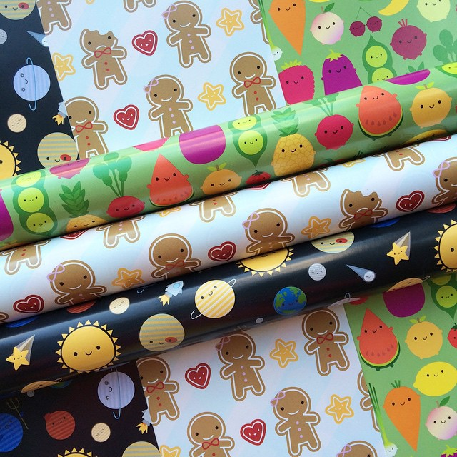 5 A Day gift wrap is up for sale in my shop now and you can pick and mix from all my designs.