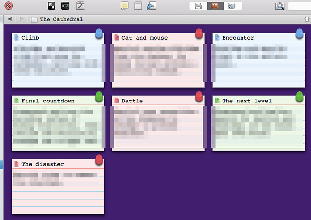 Scrivener's Corkboard shown with point of view colour highlighting