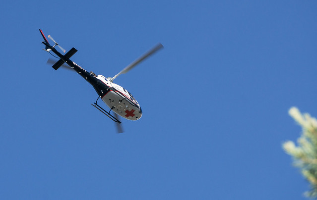 Medical Helicopter in Flight