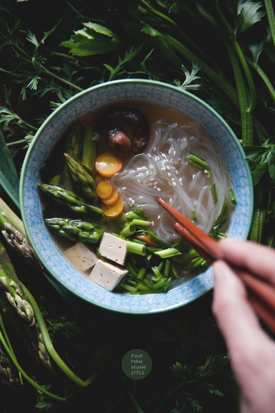 Spring miso soup with asparagus
