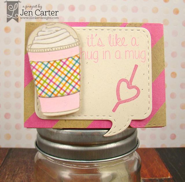 Jen Carter Iced Coffee Gift Card Holder Hug Mug Frappe 1 wm