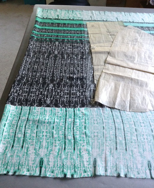 green stripe fabric