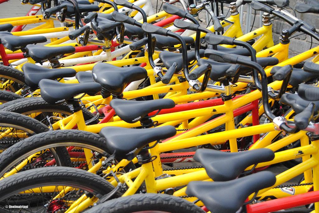 Polkupyöriä Xi'anin kaupunginmuurilla