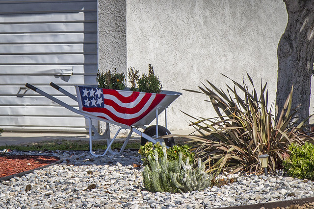 Flag on wheelbarrow