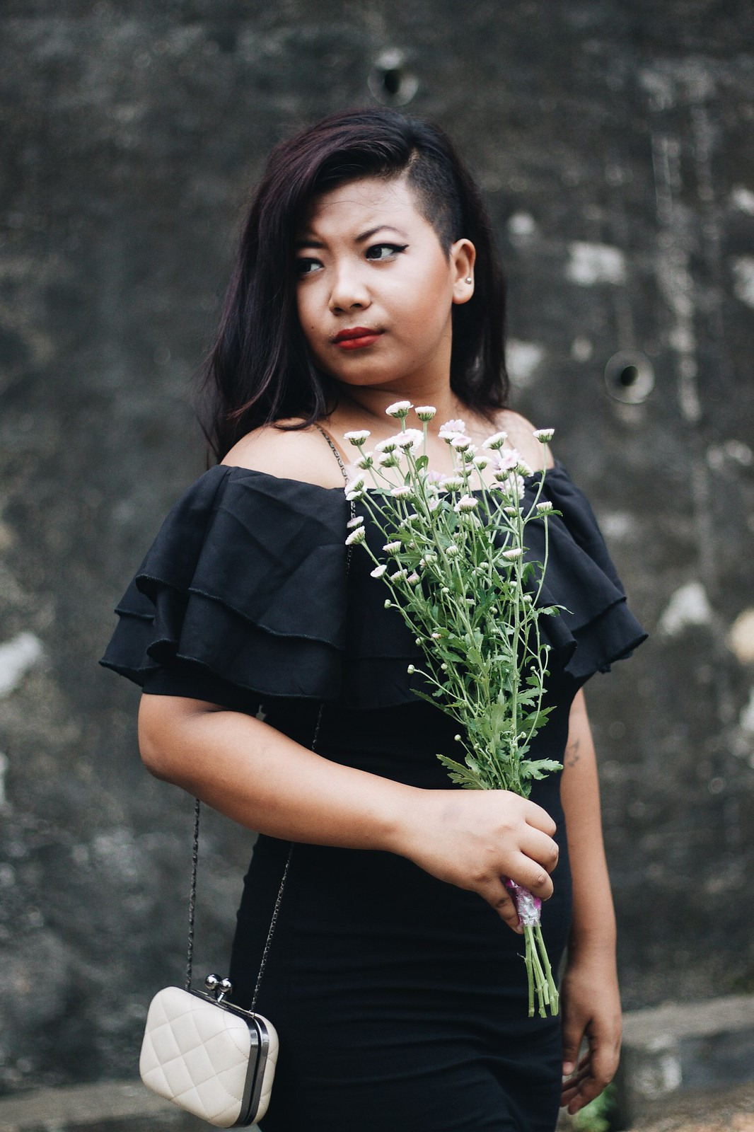 SelestyMe Indian fashion blog by Chayanika Rabha Wearing Stalkbylove Off the Shoulder Little black dress Jabong Black pointed boots and clutch