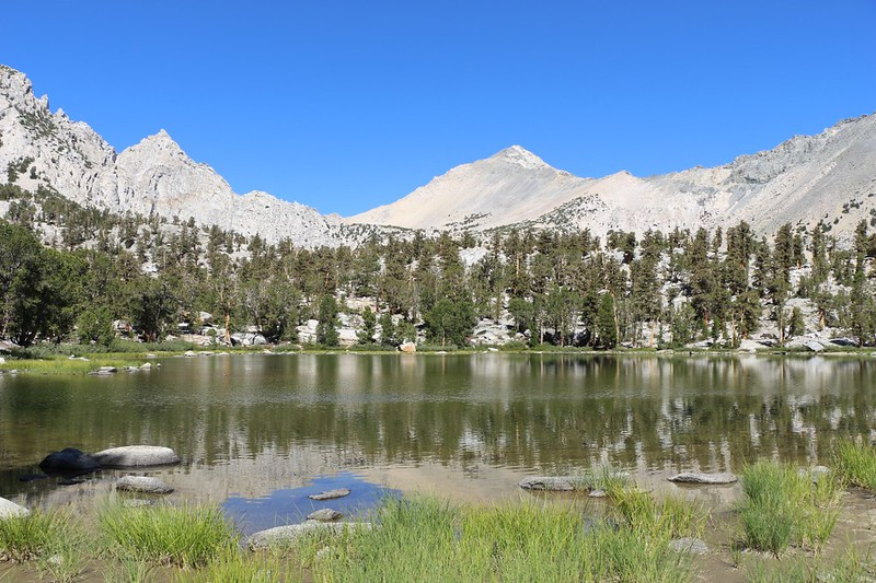 Kearsarge Pass and Mount Gould in the distance above an unnamed lake east of Matlock Lake