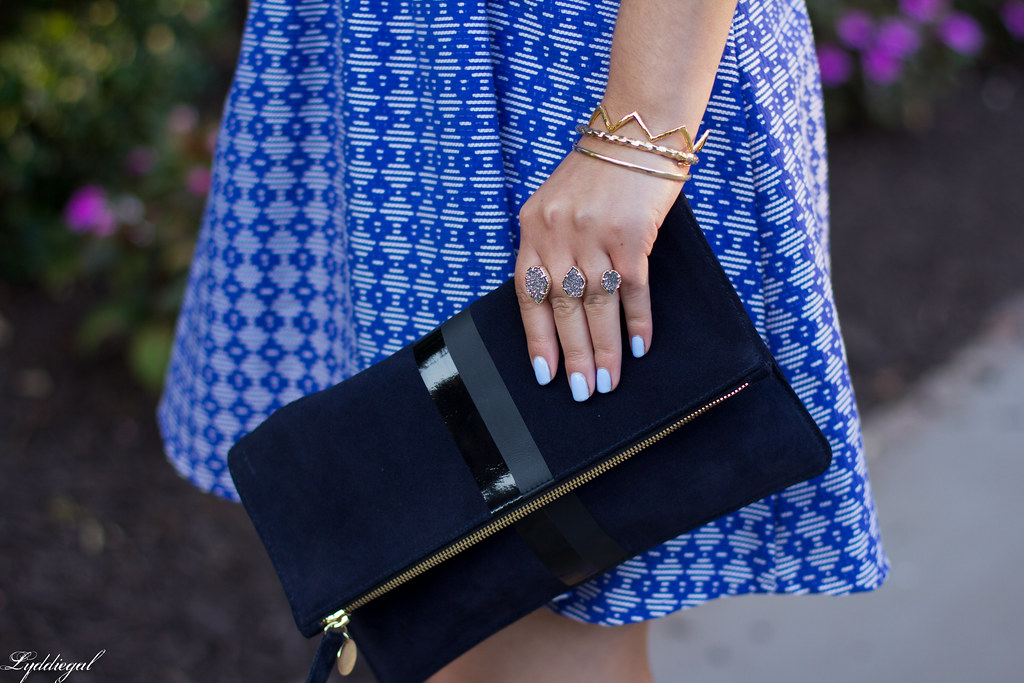 blue print cutout dress, fringe pumps, clare v clutch-8.jpg