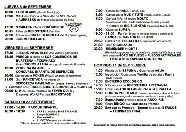 Fiestas de Burtzeña 2016 (8 - 11 de Septiembre) #Barakaldo