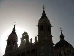 The sun flare creates a silhouette of this cathedral in Madrid, Spain