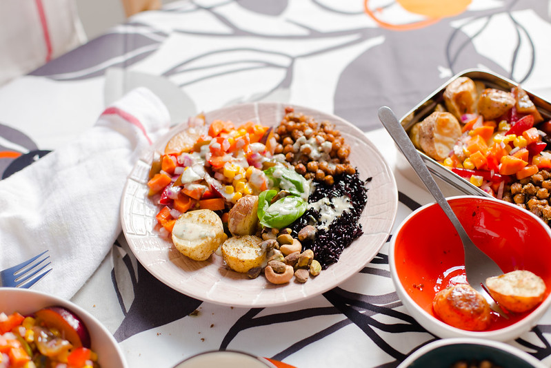 Roasted Potato, Black Rice with Crispy Chickpeas