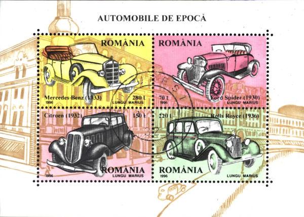 Známky Rumunsko 1996 Automobily, razítkovaný blok