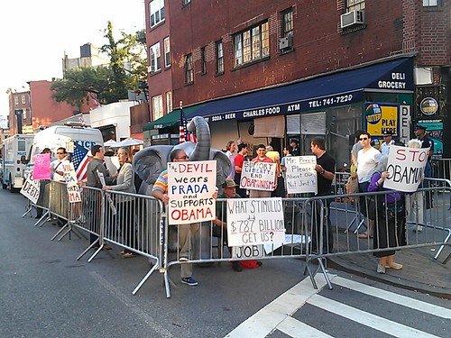 Protesters at the Obama visit in the West Village | by agreatbigcity