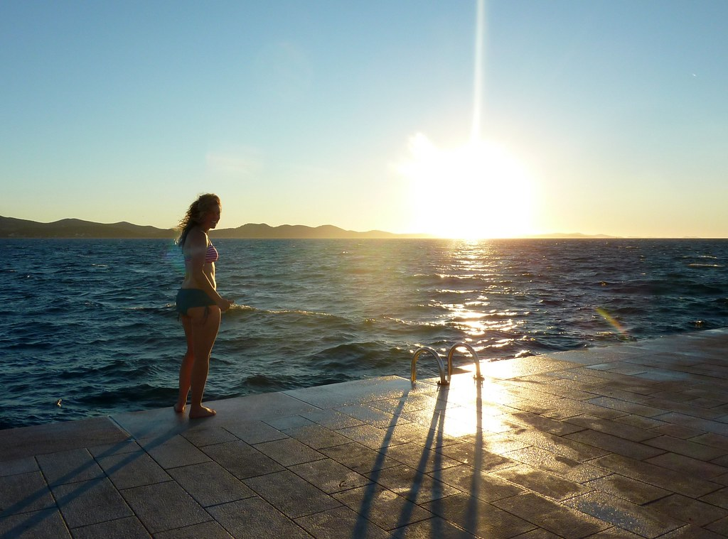 Linds swimming at sunset in the ADRIATIC!
