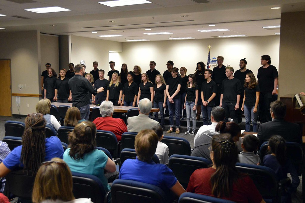 Cottonwood High School Madrigals perform during board meeting