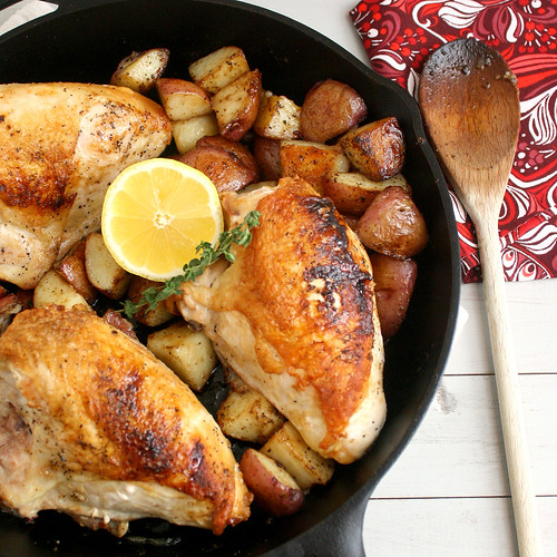 Pan-Roasted Chicken and Potatoes with Balsamic Glaze | by Tracey's Culinary Adventures