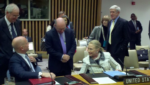 UK Foreign Secretary William Hague, Secretary Clinton, UK Permanent Representative Sir Mark Lyall Grant and Minister Burt at the UN Security Council  meeting on peace and security in the Middle East | by UKUnitedNations