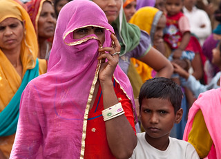 A woman listens to UN Women Executive Director at the gram sabha, or village assembly meeting, in Barrod village of Rajasthan's Alwar district on 5 October 2012 | by UN Women Gallery