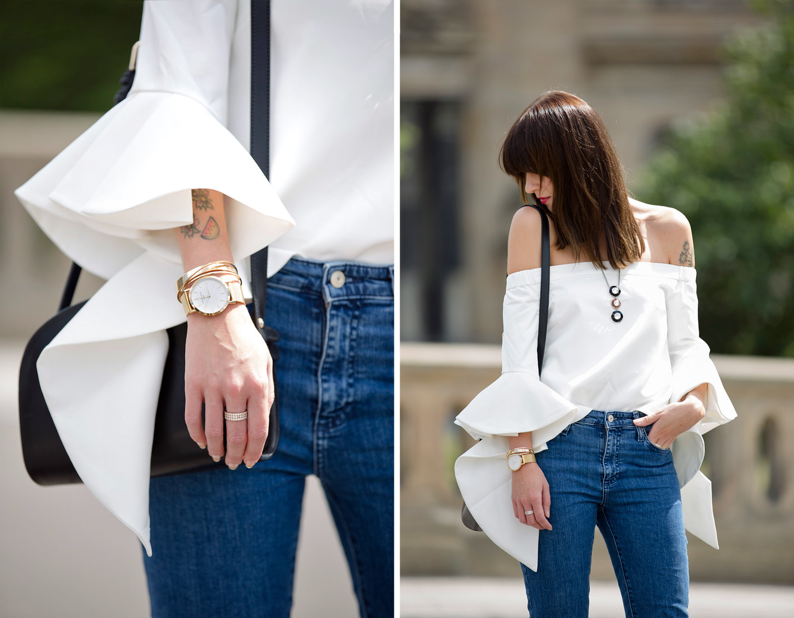 outfit berlin white off shoulder top chicwish fringe jeans mango bangs brunette parisienne french girl berliner dom museumsinsel summertime august styling apc halfmoon bag fashionblogger cats & dogs german style blog ricarda schernus outfitblogger 5