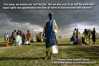 """For many, we women are 'half the sky.' But we also want to be half the earth..."" 