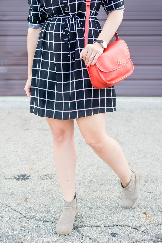 black and white grid print dress + black wool hat + red coach purse + ankle boots; casual fall style | Style On Target blog