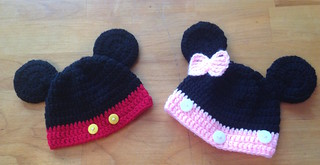 Mickey & Minnie crochet beanies
