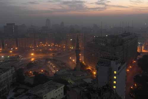 Street lights' lava glow around Tahrir Square [Explored]