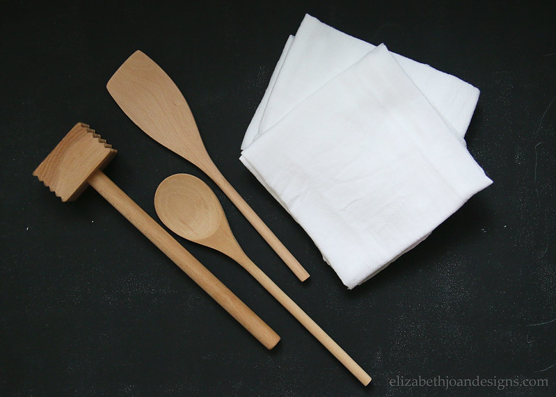 Wooden Utensils White Towel