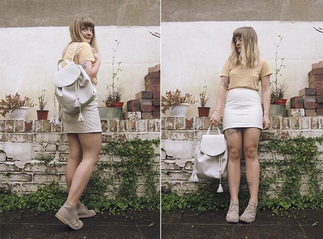 Monki stripe top, Asos PU skirt, Zara faux leather backpack, Clarks desert boots