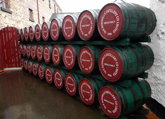 Barrels at the Bushmills Distillery in Ireland, UK